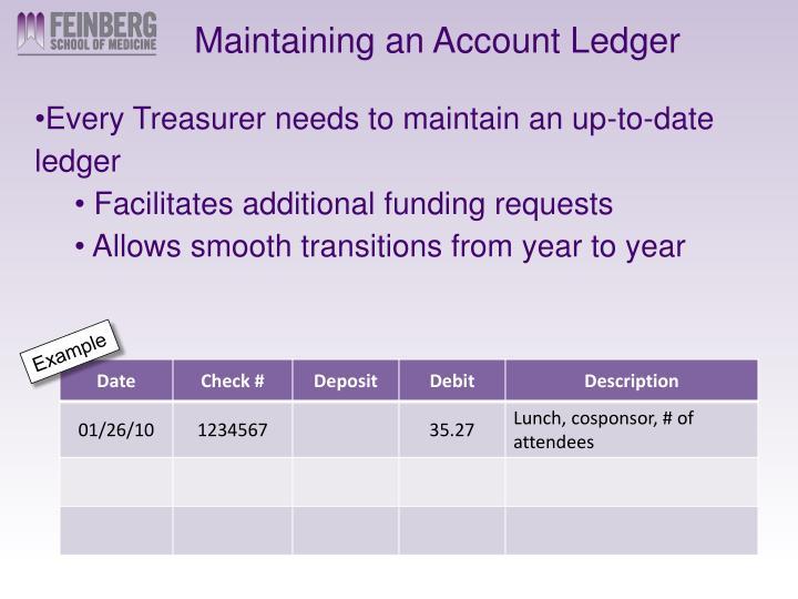 Maintaining an Account Ledger