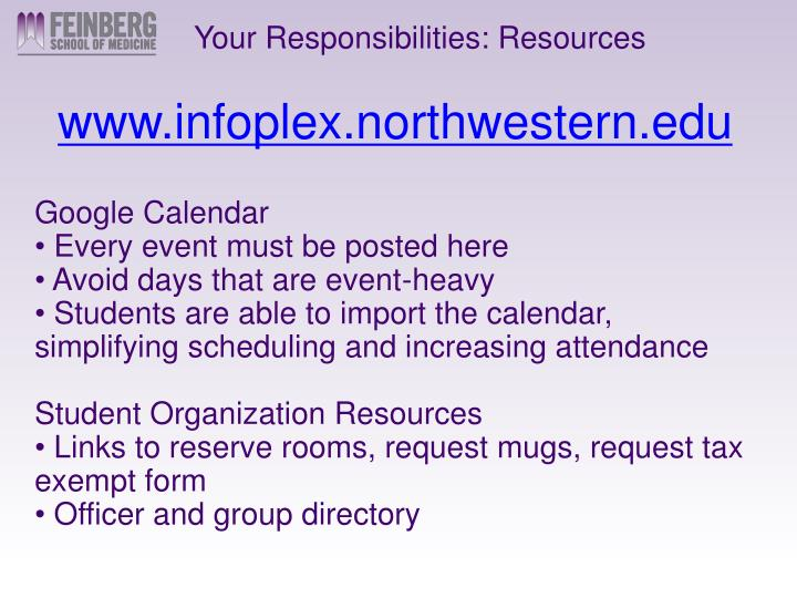Your Responsibilities: Resources