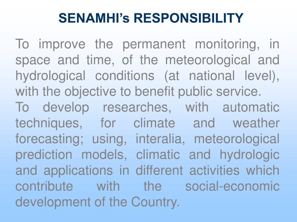 SENAMHI's RESPONSIBILITY