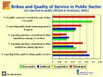 bribes and quality of service in public sector as reported by public officials in honduras 2001
