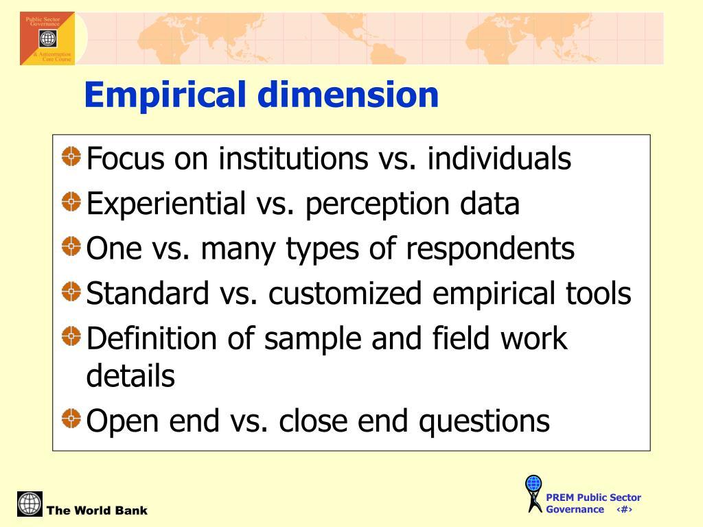 Focus on institutions vs. individuals