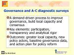 governance and a c diagnostic surveys