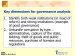 key dimensions for governance analysis