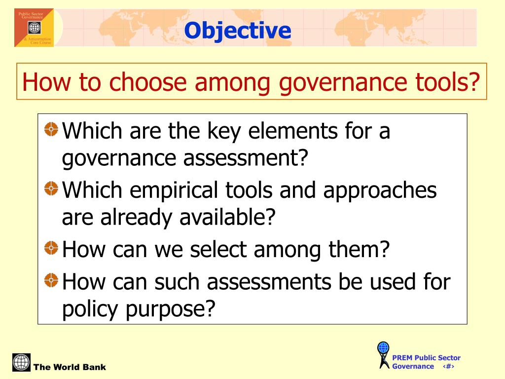 Which are the key elements for a governance assessment?