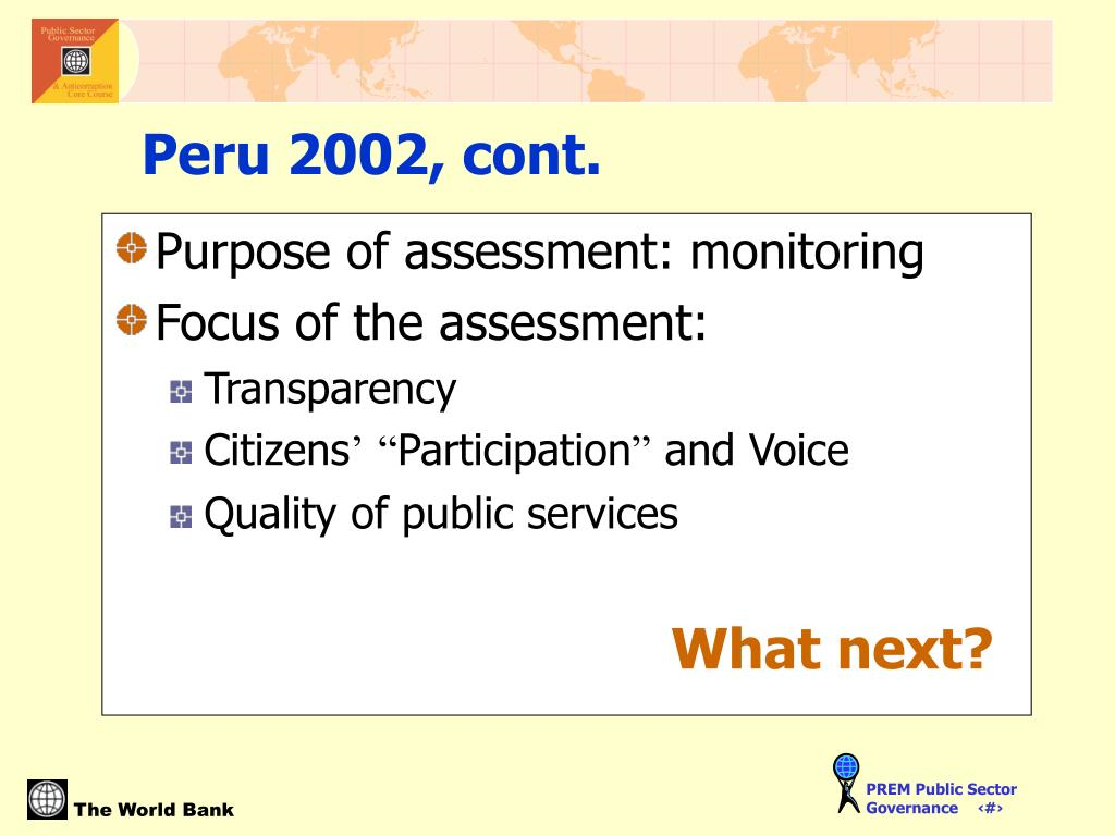 Purpose of assessment: monitoring