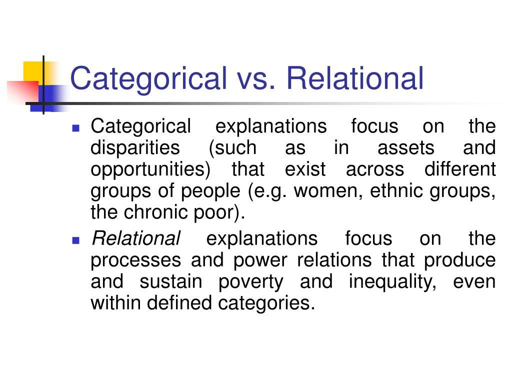 Categorical vs. Relational