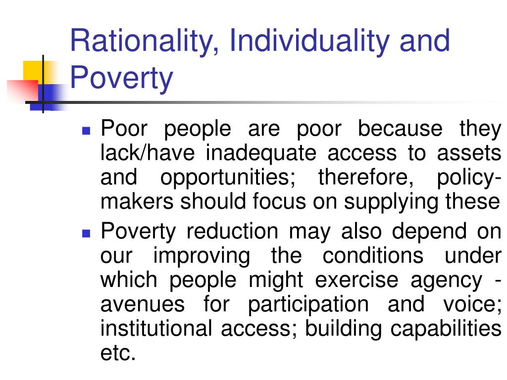 Rationality, Individuality and Poverty