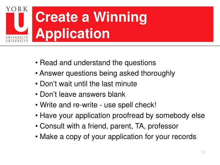 Create a Winning Application