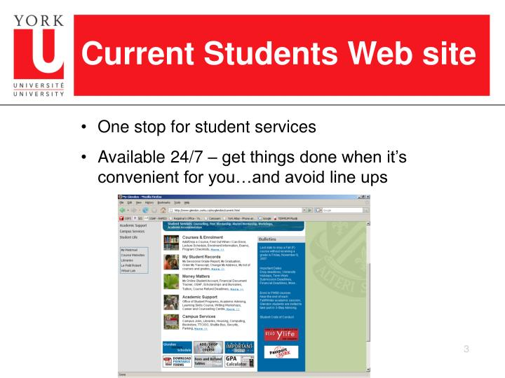 Current Students Web site