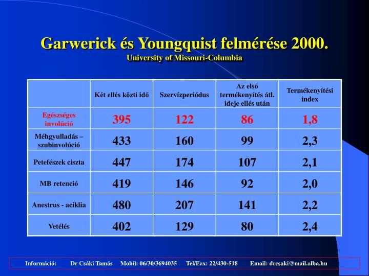 Garwerick és Youngquist felmérése 2000.