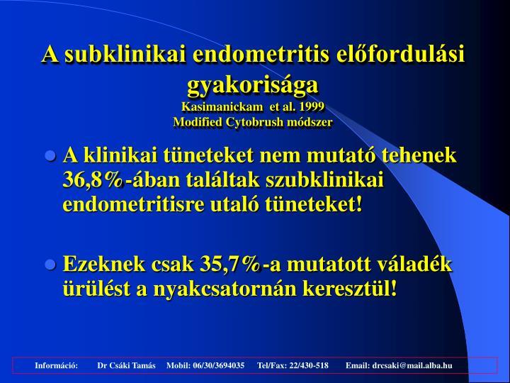 A subklinikai endometritis előfordulási gyakorisága