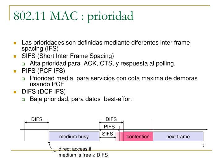 802.11 MAC : prioridad