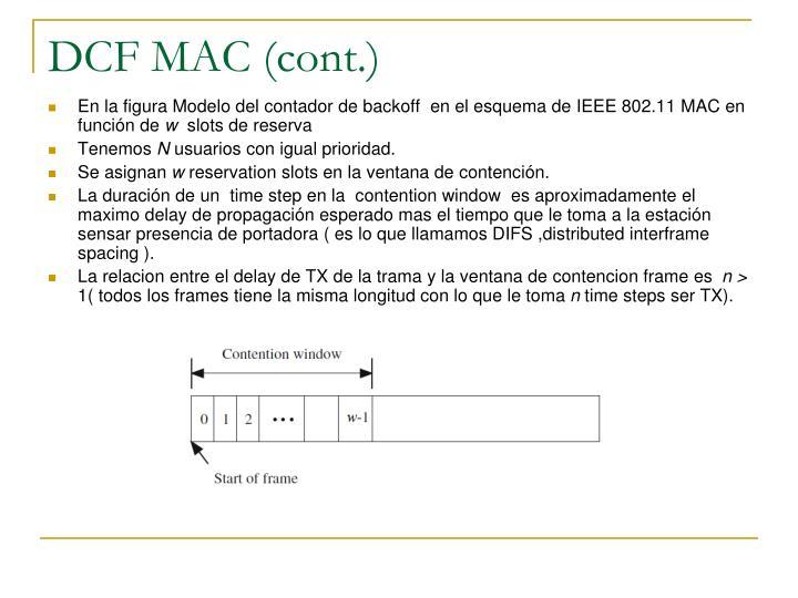 DCF MAC (cont.)