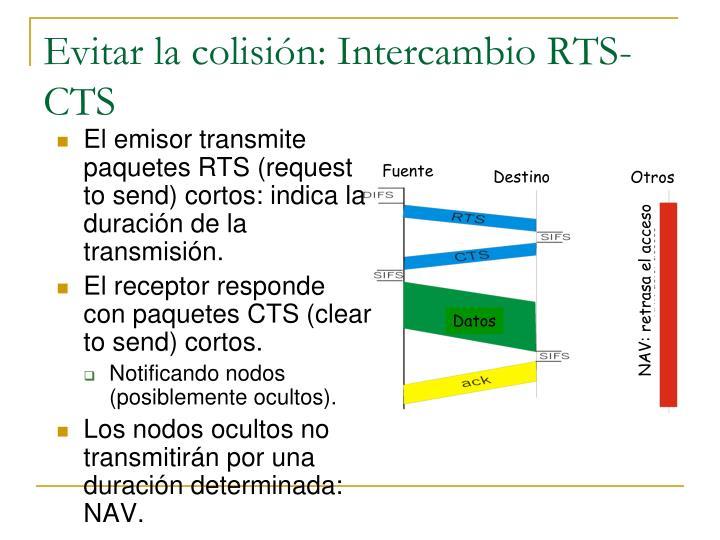 Evitar la colisión: Intercambio RTS-CTS
