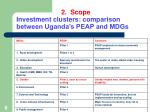 2 scope investment clusters comparison between uganda s peap and mdgs