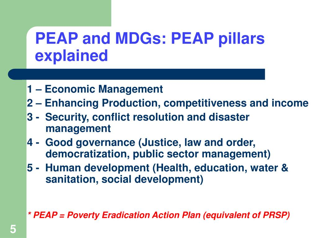 PEAP and MDGs: PEAP pillars explained