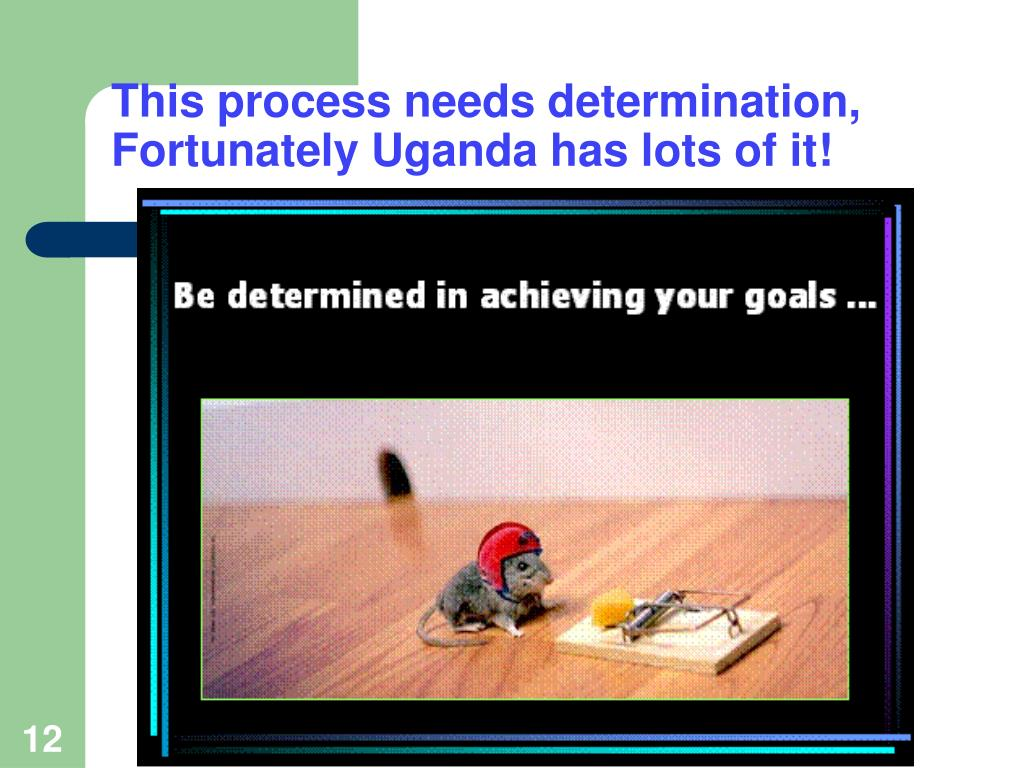 This process needs determination, Fortunately Uganda has lots of it!