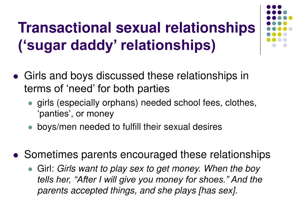 Transactional sexual relationships