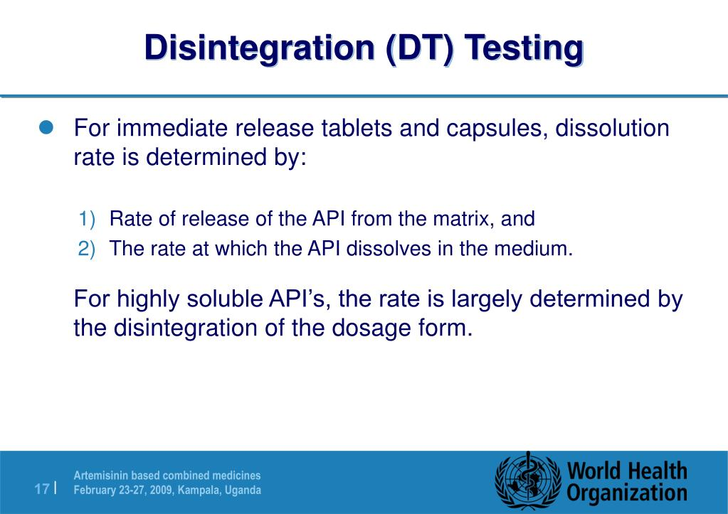 Disintegration (DT) Testing