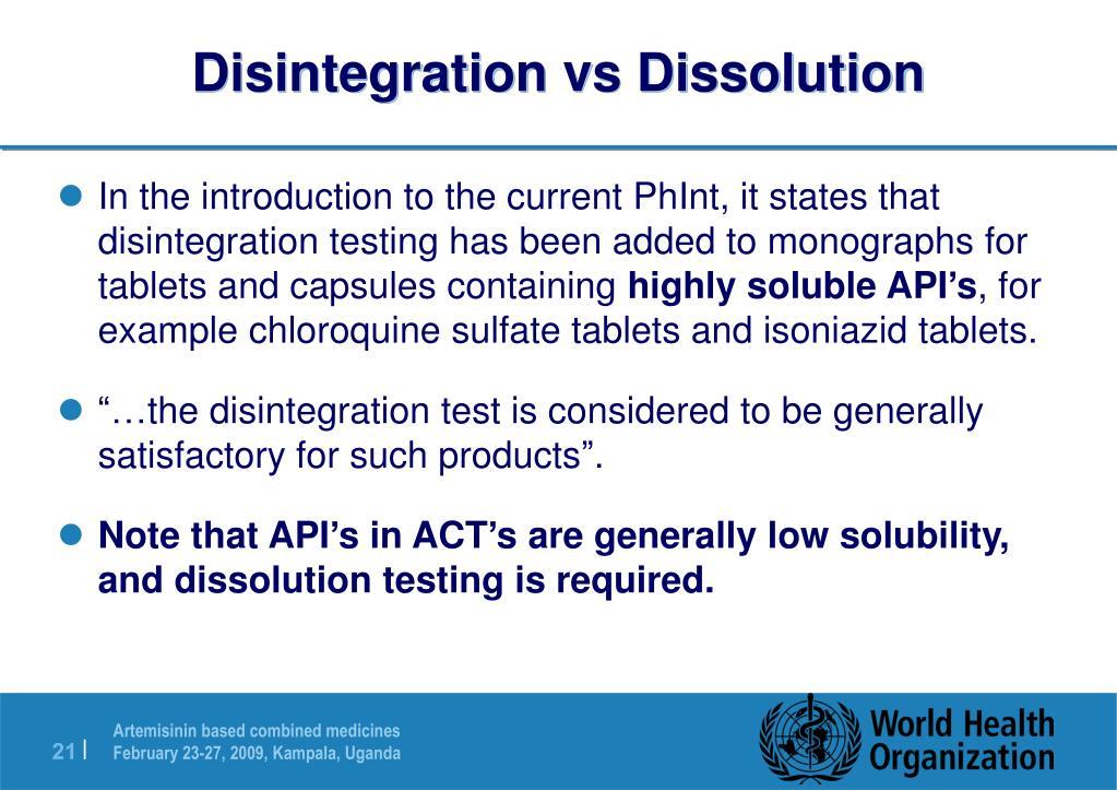 Disintegration vs Dissolution