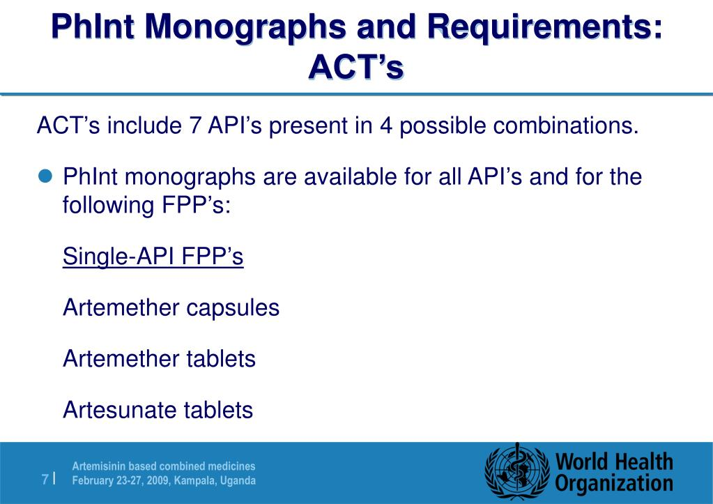PhInt Monographs and Requirements: ACT's