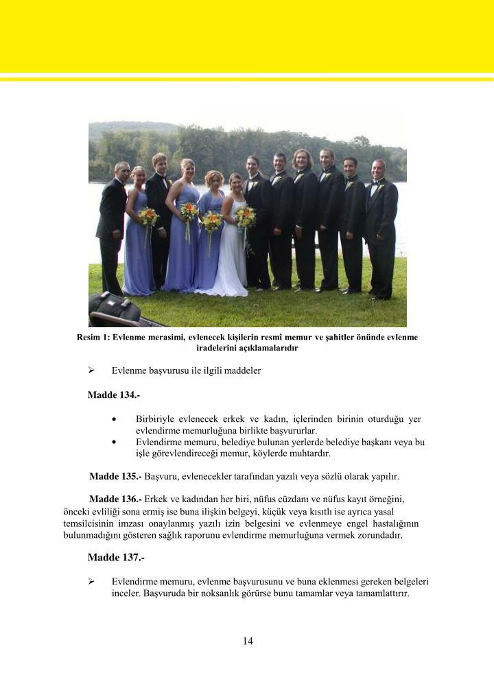 Resim 1: Evlenme merasimi, evlenecek kişilerin resmî memur ve şahitler önünde evlenme