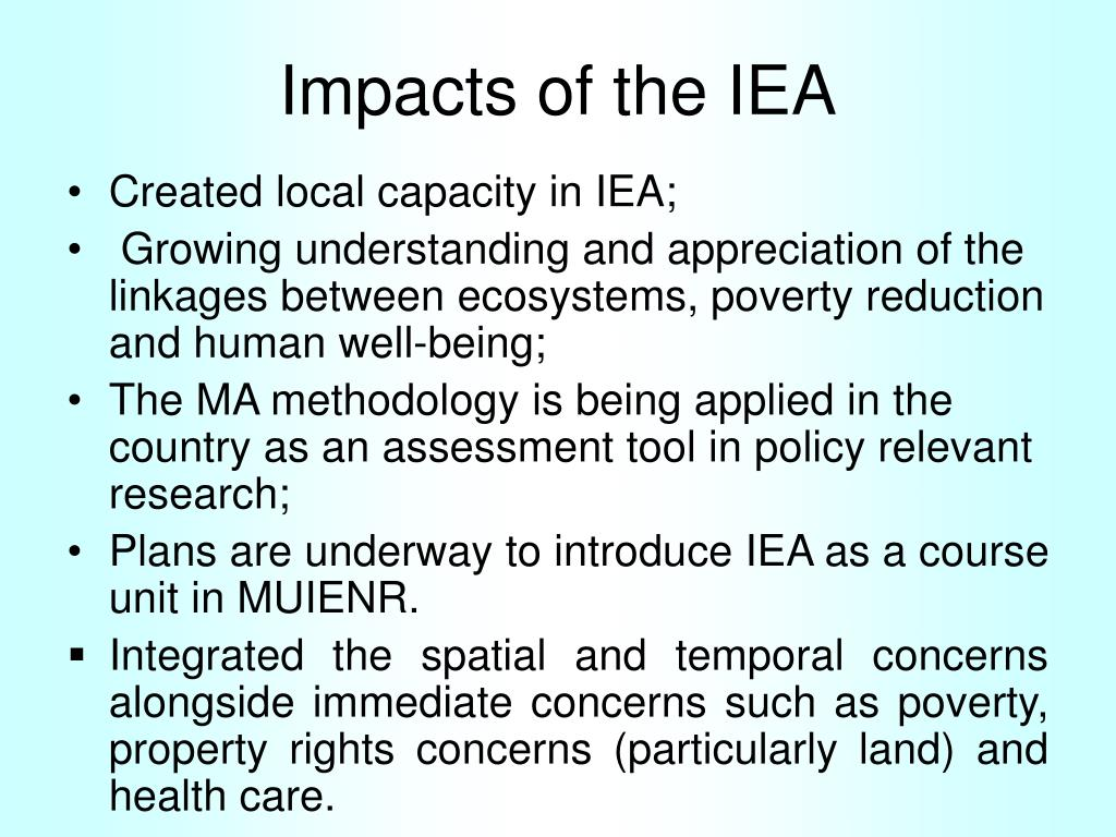 Impacts of the IEA