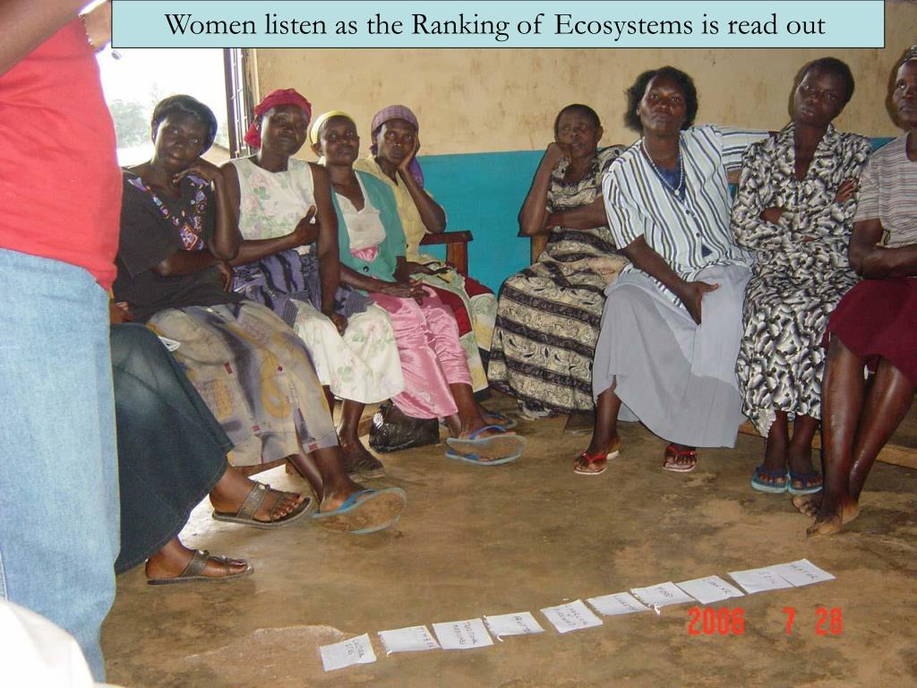 Women listen as the Ranking of Ecosystems is read out