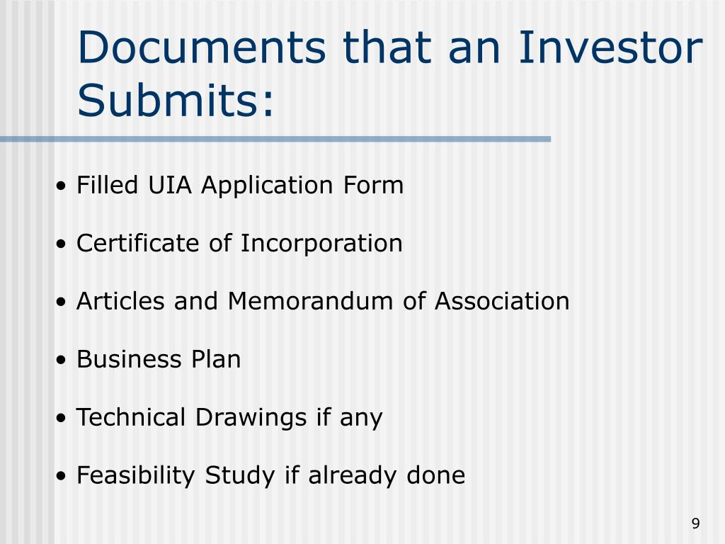 Documents that an Investor