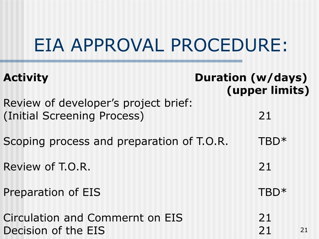 EIA APPROVAL PROCEDURE: