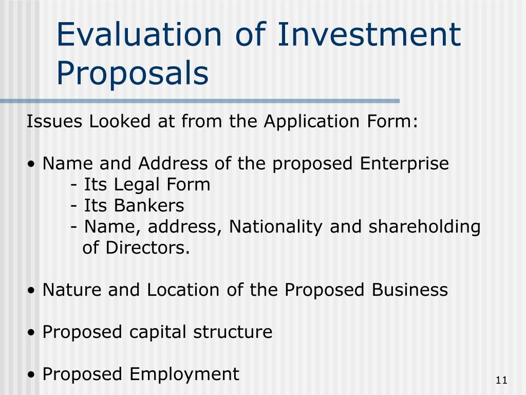 Evaluation of Investment Proposals