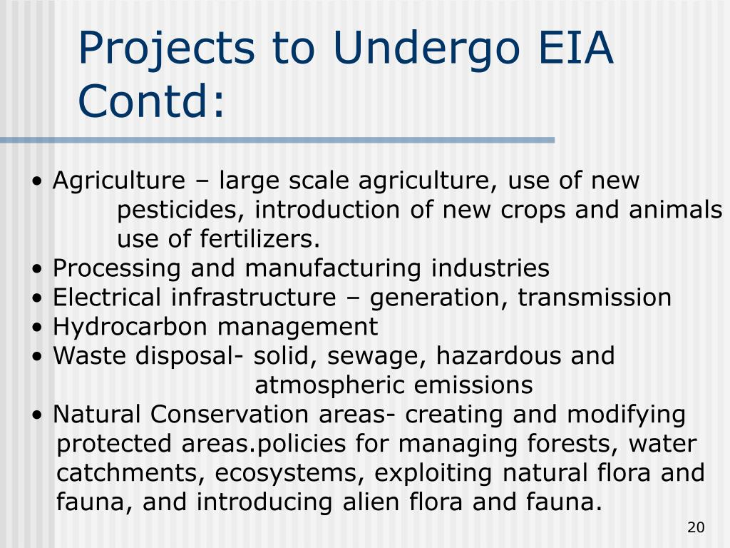 Projects to Undergo EIA Contd: