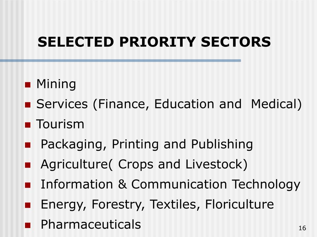 SELECTED PRIORITY SECTORS