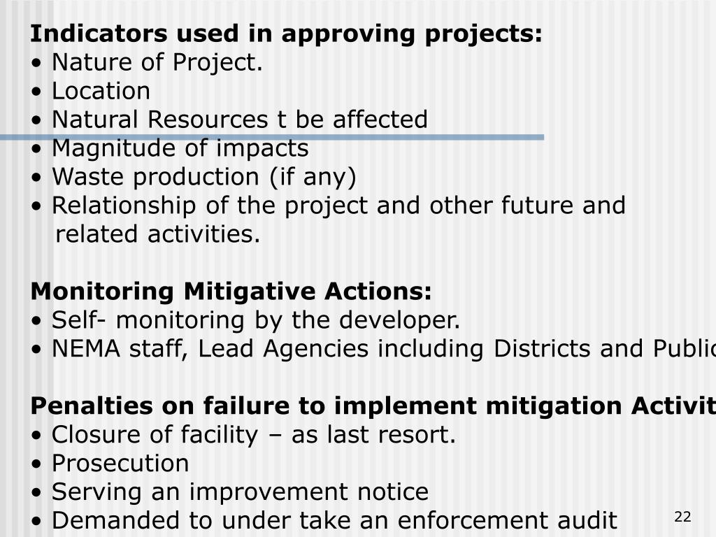 Indicators used in approving projects: