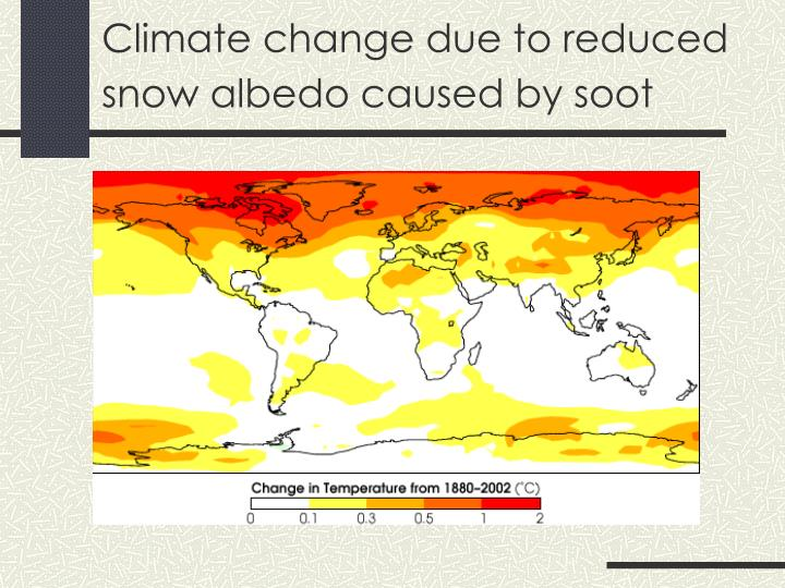 Climate change due to reduced snow albedo caused by soot