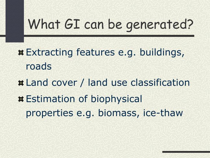 What GI can be generated?