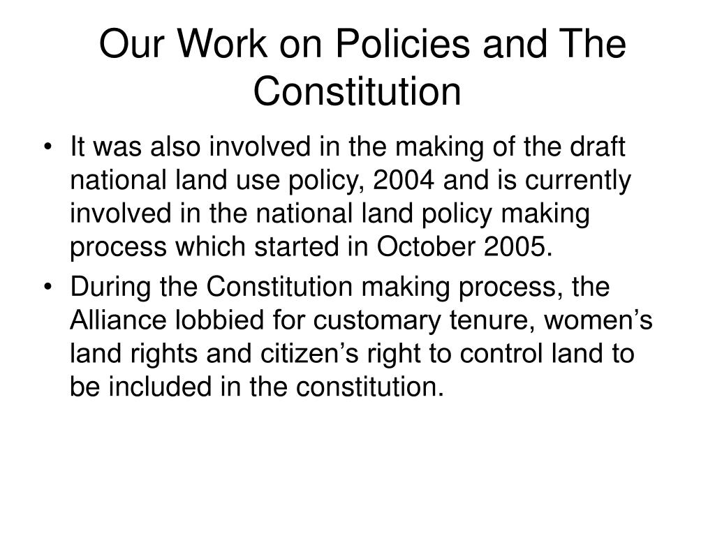Our Work on Policies and The Constitution