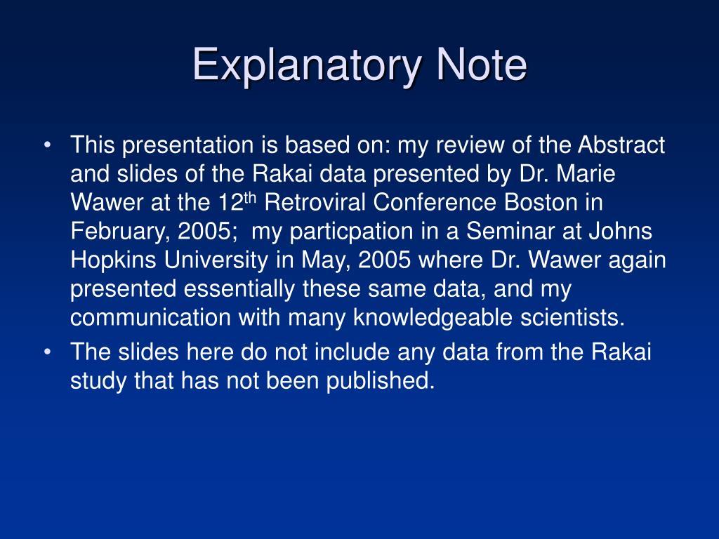 Explanatory Note