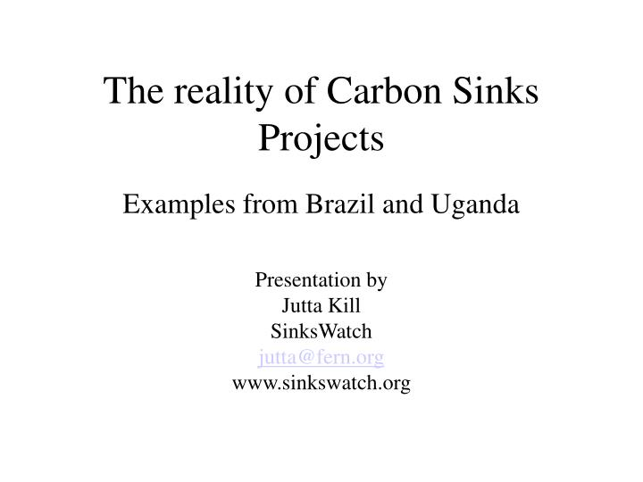 The reality of carbon sinks projects l.jpg