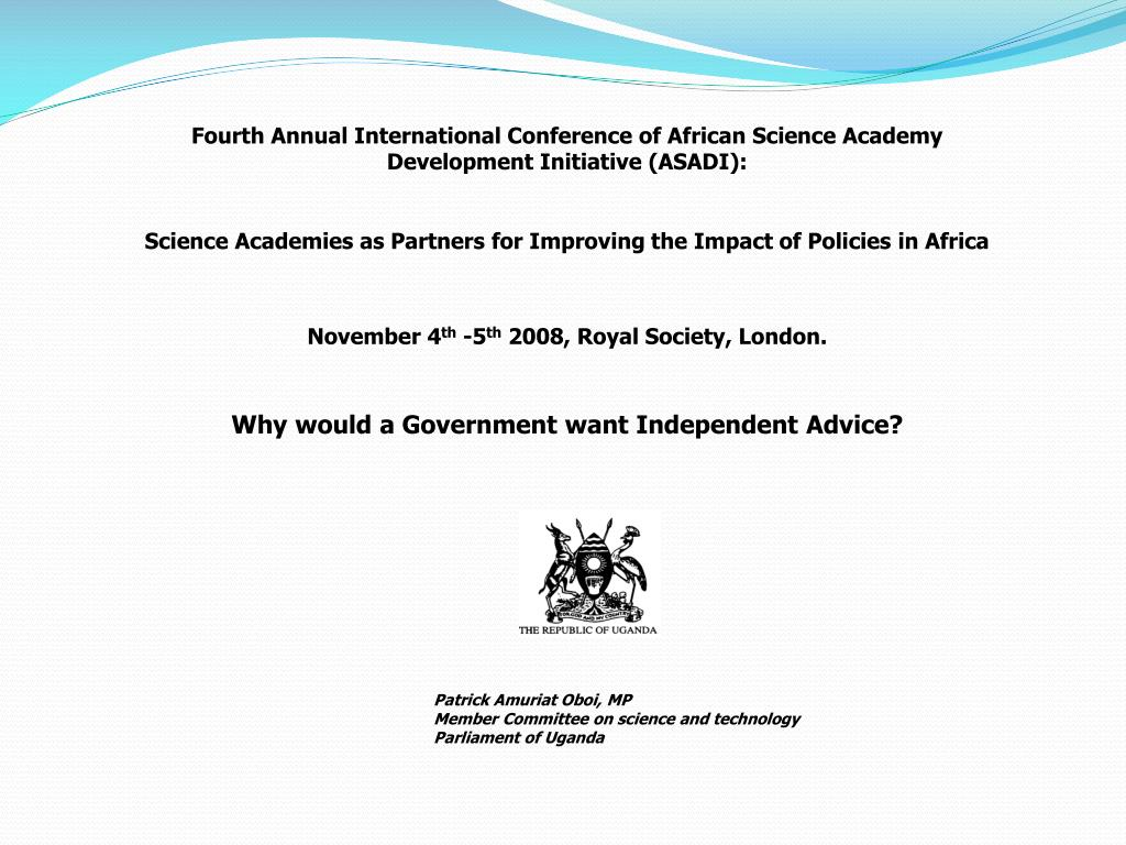 Fourth Annual International Conference of African Science Academy Development Initiative (ASADI):