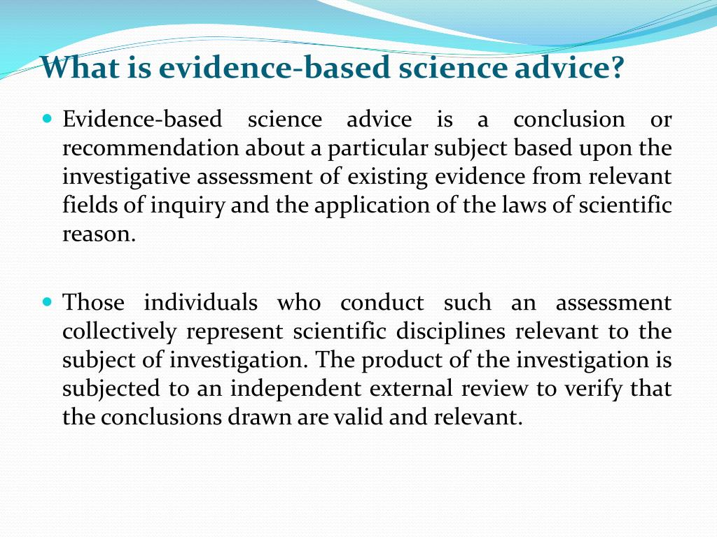 What is evidence-based science advice?