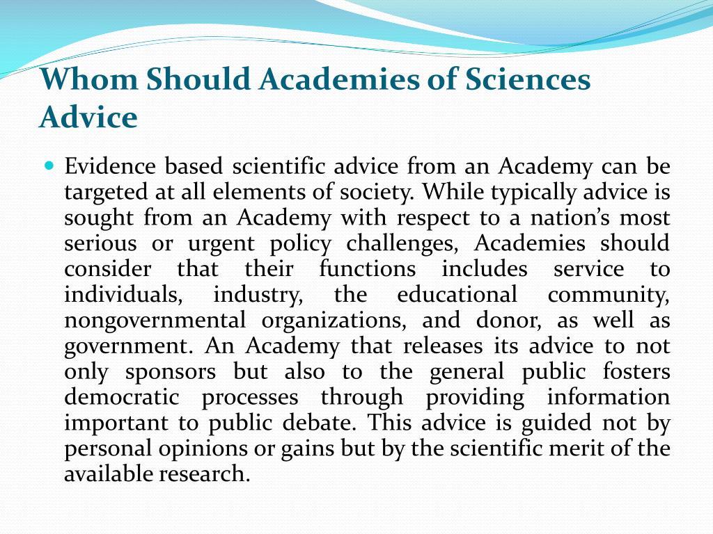 Whom Should Academies of Sciences Advice
