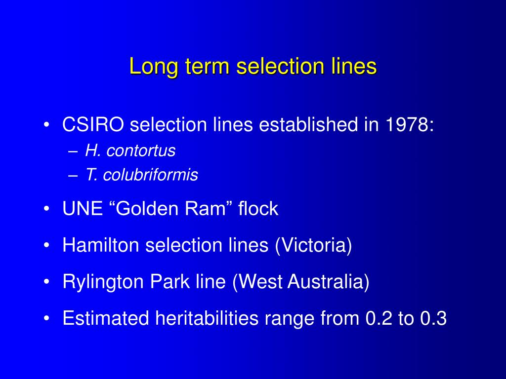 Long term selection lines