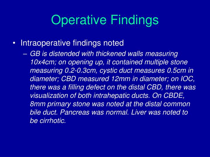 Operative Findings