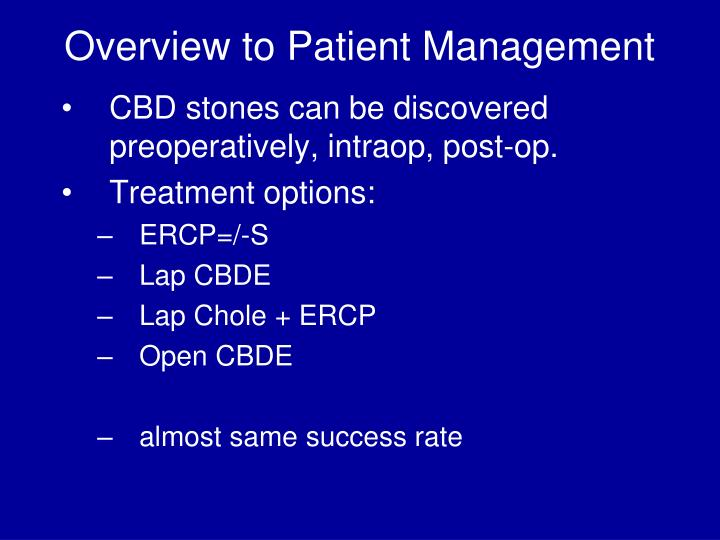 Overview to Patient Management
