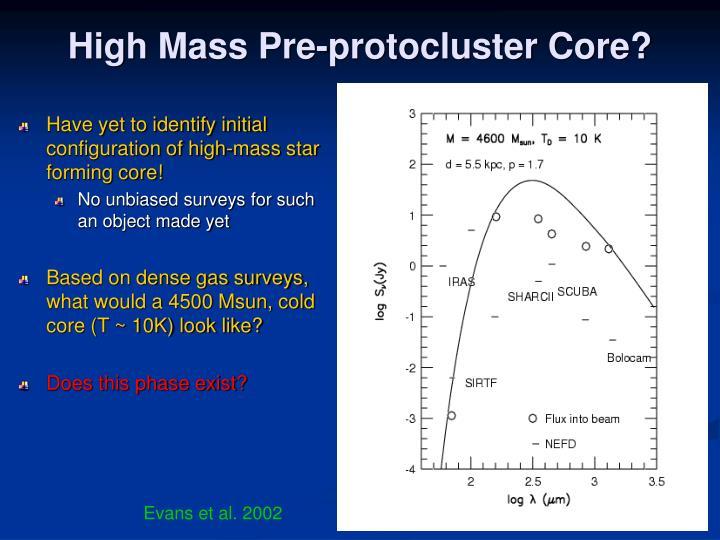 High Mass Pre-protocluster Core?