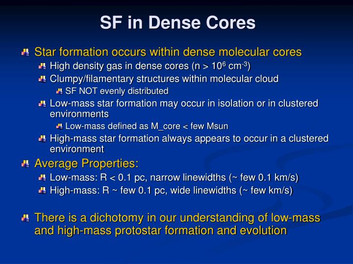 SF in Dense Cores