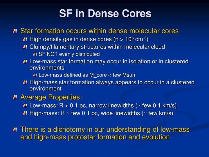 SF in Dense Cores