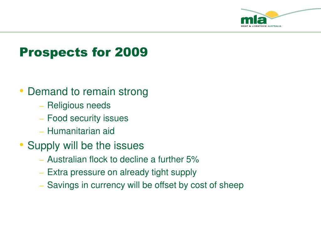 Prospects for 2009