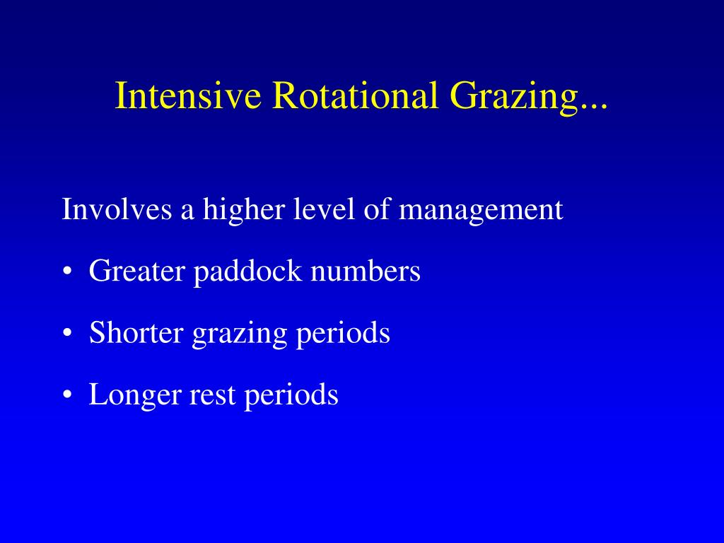 Intensive Rotational Grazing...